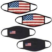 4Pcs USA Flag Print Unisex Face Mask Protect Reusable Cotton Comfy Washable Made in USA