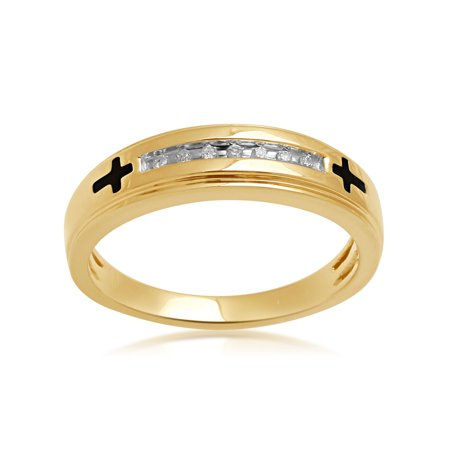 Men's Diamond Accent 18kt Yellow Gold over Sterling Silver Enamel Wedding