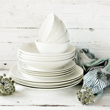Better Homes & Gardens Meridian 16-Piece Bone China Dinnerware Set,