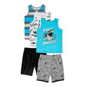 Garanimals Baby Boy & Toddler Boy Tank Top & Shorts Mix & Match Outfit Set, 5-Piece (12M-5T)