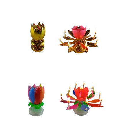 Exciting Candle Rotating Magic Sparkler Lotus Flower Birthday 2 Pack 1 Gold And P Rainbow