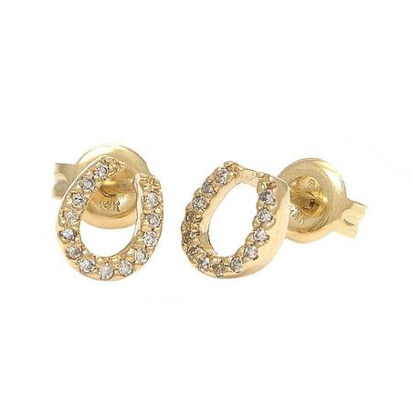 14k Yellow Gold Diamond Horse Shoe Earrings White Gold Diamond Horse