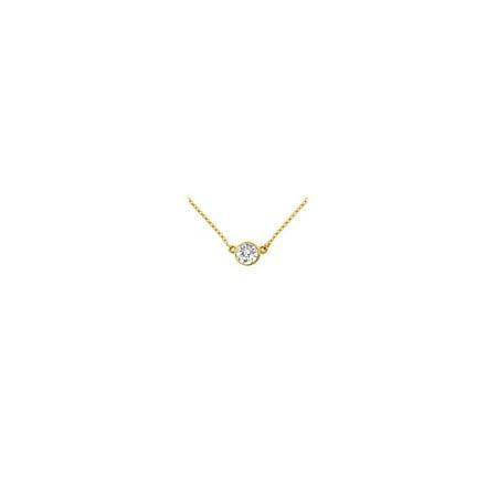 14K Yellow Gold Bezel Set Round Diamond Solitaire Pendant 0.15 CT. TW.