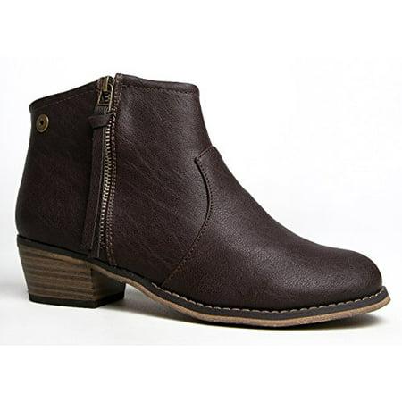 Breckelles Dorado-11 Brown Leatherette Zip Tassel Western Ankle Riding Bootie (9) (6) (Tassel Zip)