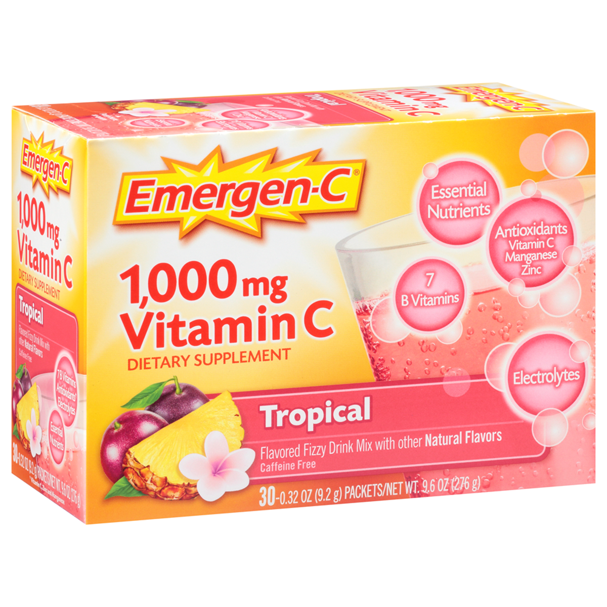 Emergen-C (30 Count, Tropical Flavor) Dietary Supplement Fizzy Drink Mix with 1000 mg Vitamin C, 0.32 Ounce Packets, Caffeine Free