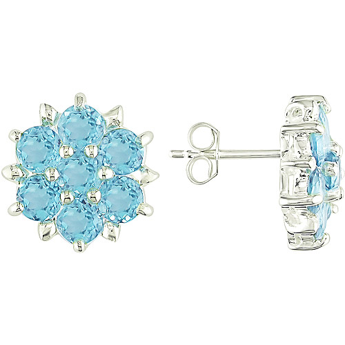 4-1/5 Carat T.G.W. Blue Topaz Flower Shaped Sterling Silver Stud Earrings