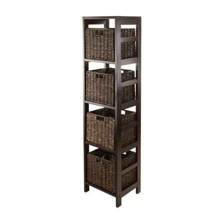 Granville 5pc Storage Tower Shelf with 4 Foldable Baskets, Espresso