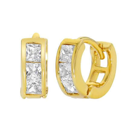 18k Yellow Gold Plated XS Clear Crystal Hoop Huggie Baby Earrings -