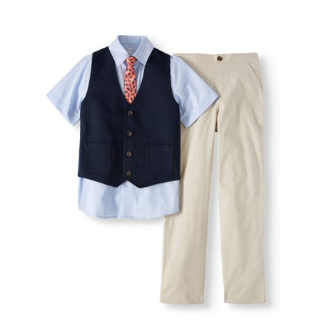Wonder Nation Dressy Vest Set with Blue Slub Stripe Short Sleeve Shirt, Skinny Tie, Mini Pique Vest, and Twill Pull-On Pants, 4-Piece Outfit Set (Little Boys & Big Boys) - Easter Baby Boy Outfits