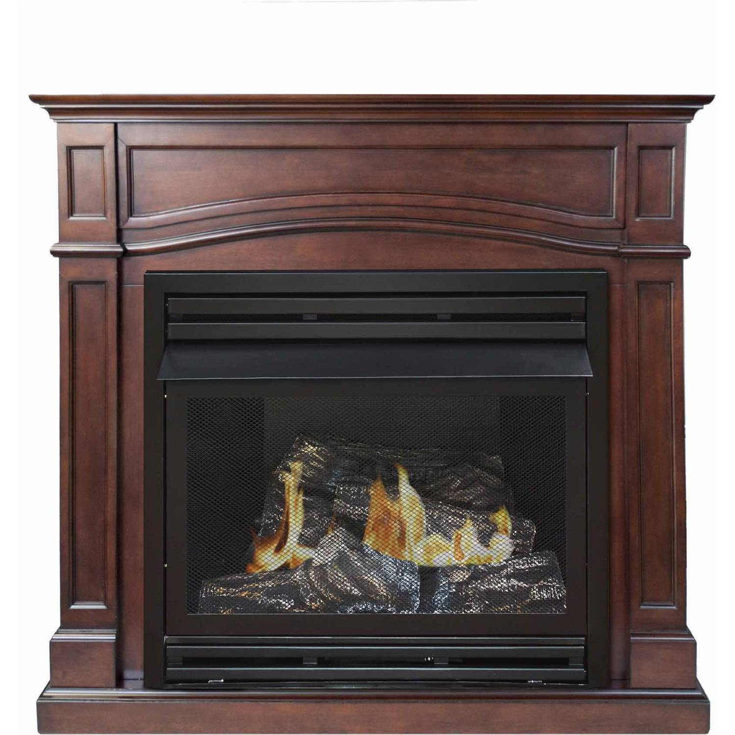 """Pleasant Hearth VFF-PHFSDR-2C 46"""" Full Size Cherry Vent-Free Fireplace System, 32,000 BTUs"""