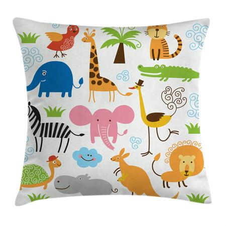 Animal Pillows For Nursery : Animal Throw Pillow Cushion Cover, Cute Set of Giraffe Elephant Zebra Turtle Kids Nursery Baby ...