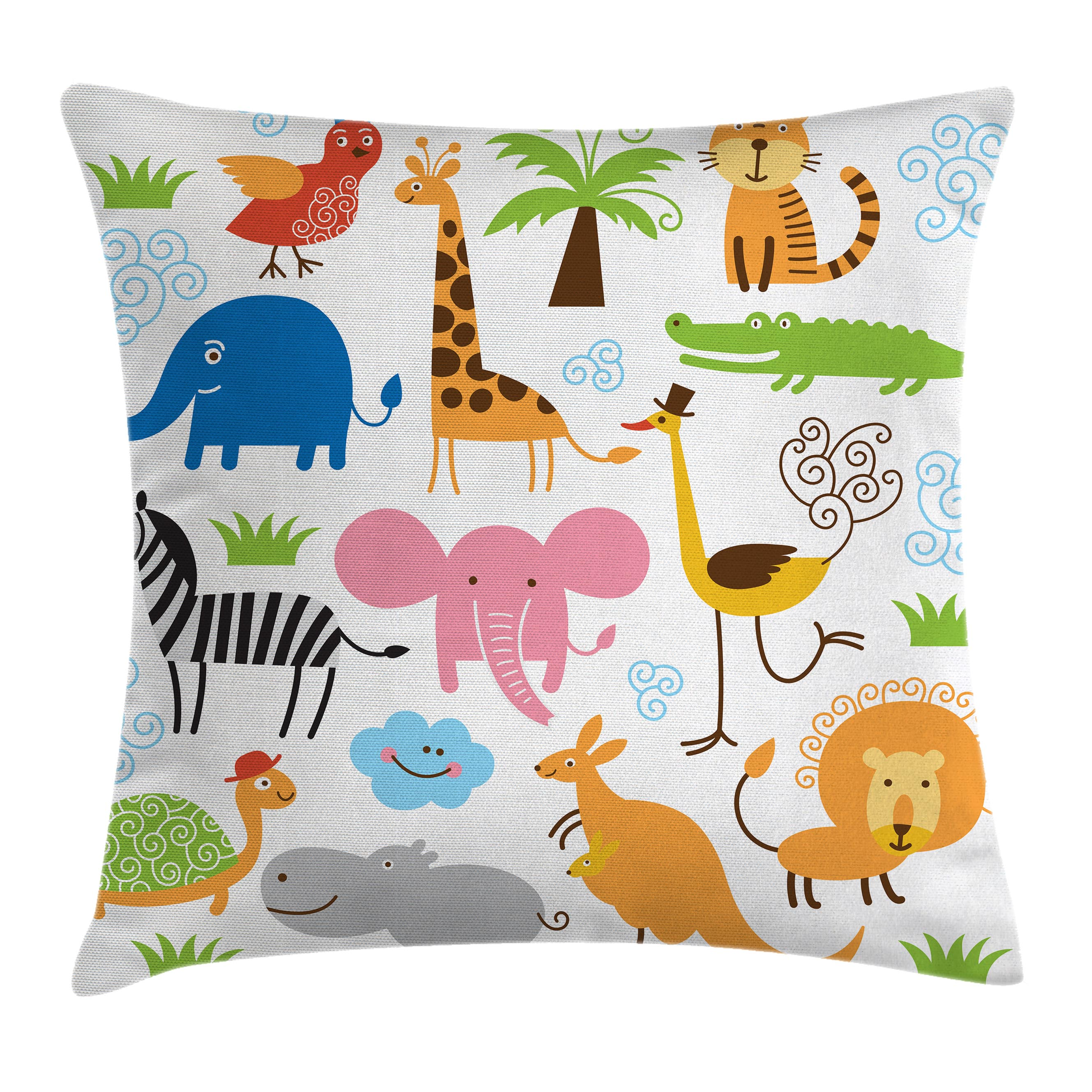 Animal Throw Pillow Cushion Cover, Cute Set of Giraffe Elephant Zebra Turtle Kids Nursery Baby Themed Cartoon Comic Print, Decorative Square Accent Pillow Case, 16 X 16 Inches, Multi, by Ambesonne