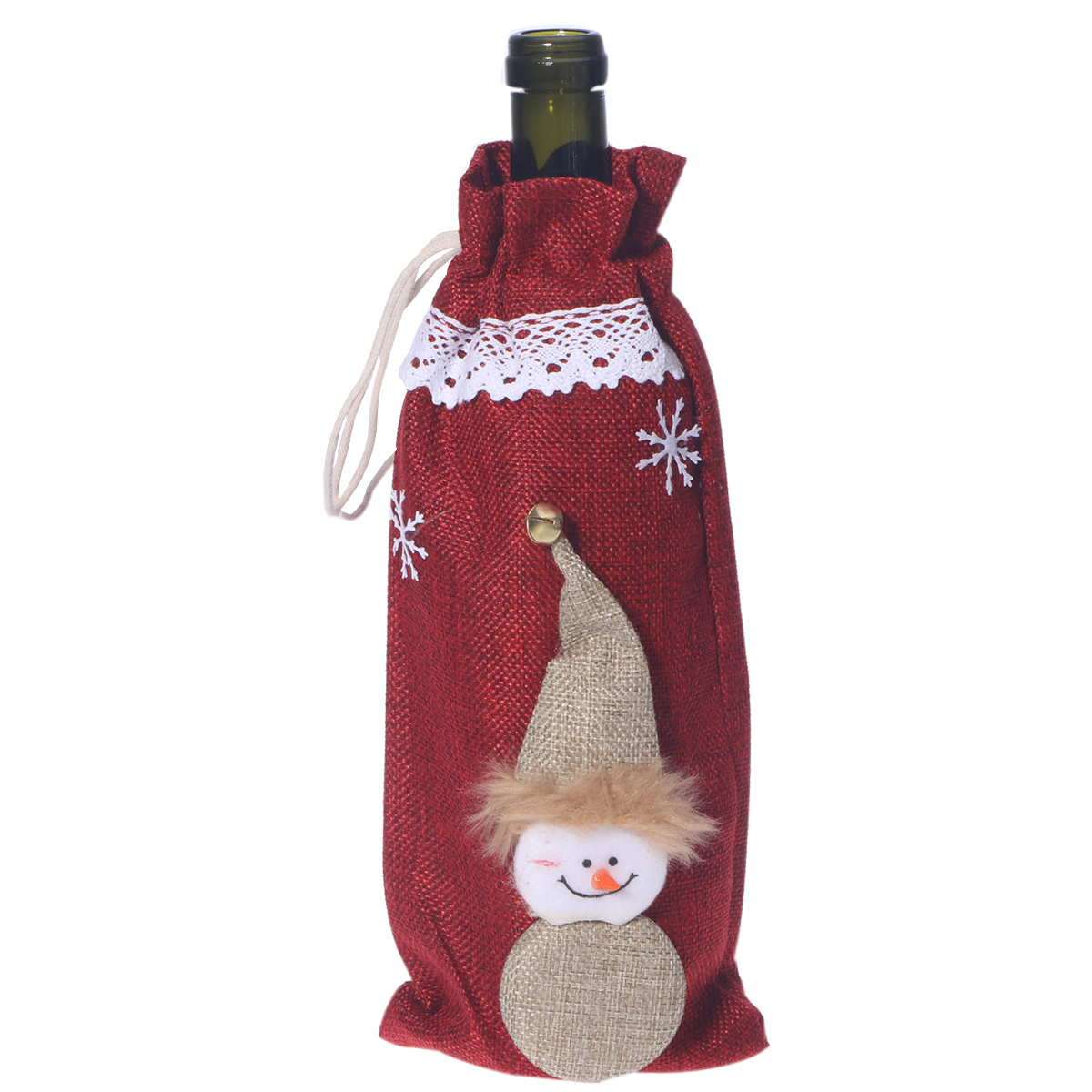 Burlap Lace Champagne And Wine Bottle Cover Cute Christmas Santa Claus Style Drawstring Wine Carrier Bag Holder Home Party Bar Table Decor Candy Gift Wrap (Khaki)
