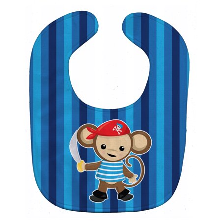 Caroline's Treasures Baby Bib, Pirate Monkey, Blue
