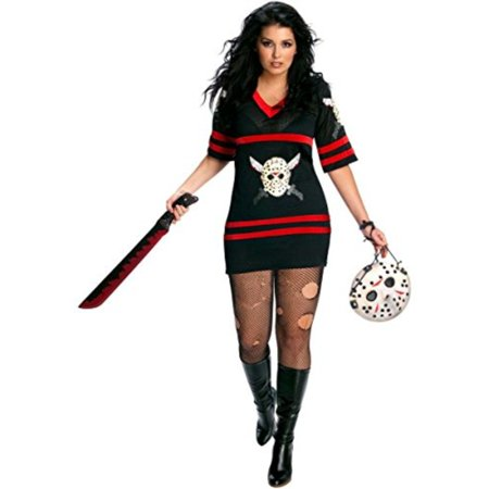 Secret Wishes Womens Plus-Size Full Figure Friday The 13th Miss Voorhees Costume, Black, One Size - Friday Meme Halloween