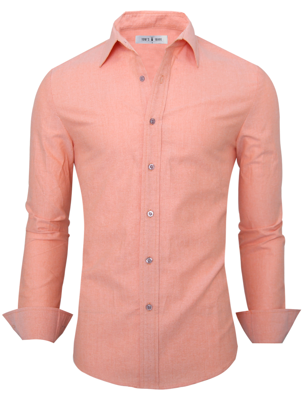 TAM WARE Mens Casual Plain Oxford Cotton Button Down Dress Shirt