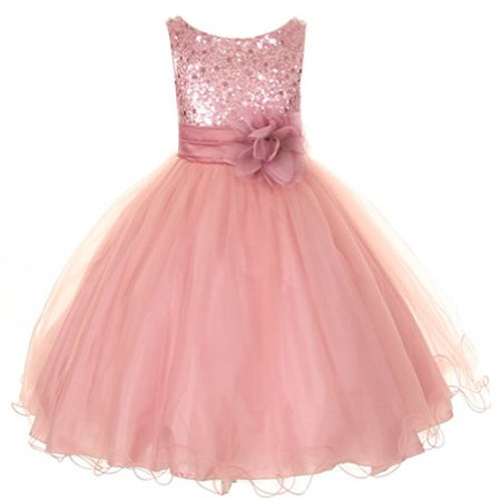 Flower Girls Sequin Glitter Beaded Dress Pageant Wedding Girls Dresses Dusty Rose (), Dusty Rose)](Glitter Dresses For Girls)