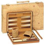 15-in. Tan World Map Backgammon Set