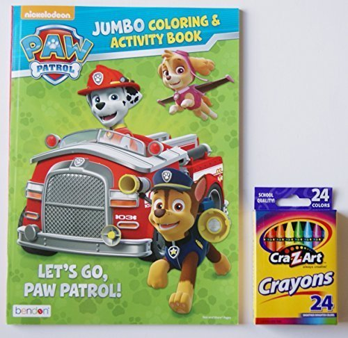Paw Patrol Let S Go Paw Patrol Jumbo Coloring And Activity Book With A Box Of Crayons