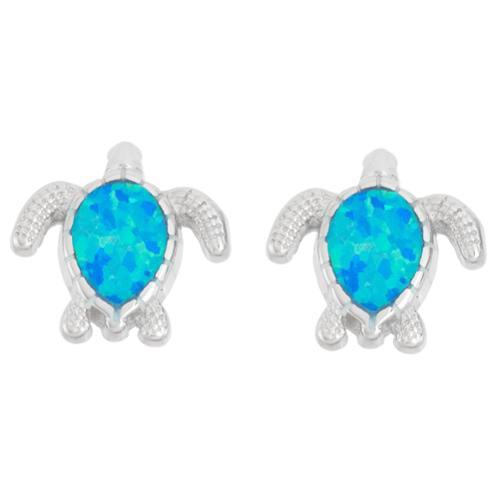 La Preciosa Sterling Silver Opal Turtle Stud Earrings Blue Opal