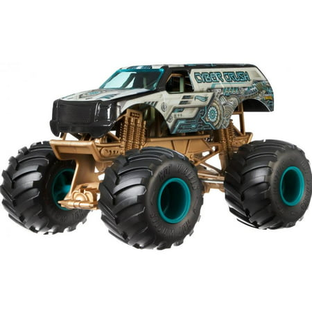 Hot Wheels Monster Trucks 1:24 Scale Cyber Crush Vehicle Competition Monster Truck Engine