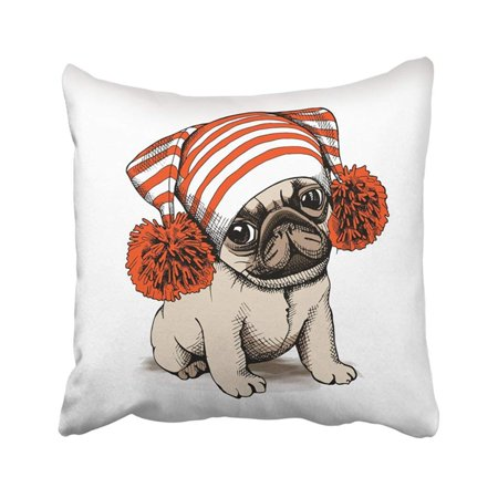 ARTJIA Brown Sketch Puppy Pug In Hat With Pom Warm Winter Accessories Adorable Animal Bulldog Pillowcase Pillow Cover 18x18 inches - Pom Puppies