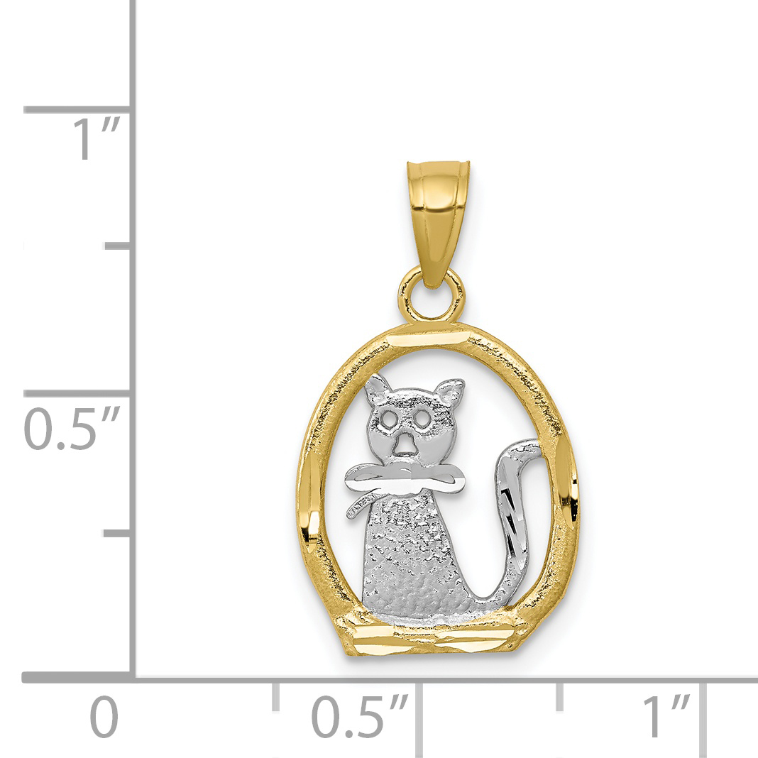 21mm Silver Yellow Plated Cat Pendant