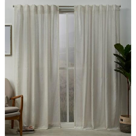 Exclusive Home Curtains 2 Pack Muskoka Teardrop Slub Embellished Hidden Tab Top Curtain Panels