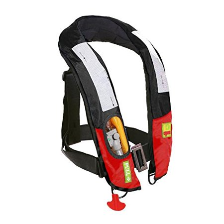 Lifesaving Pro? Premium Manual Inflatable Life Jacket PFD Life Vest Deluxe Inflate Survival Aid Lifesaving PFD Black