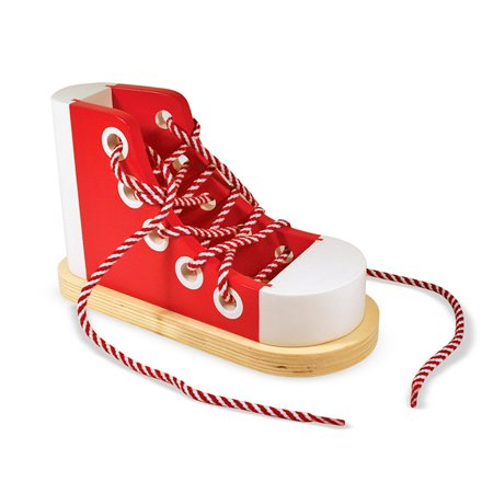294dd324674a Melissa   Doug Deluxe Wood Lacing Sneaker - Learn to Tie a Shoe Educational  Toy - Walmart.com
