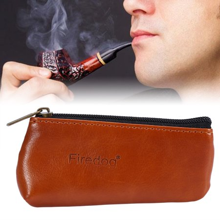 Portable Zippered PU Leather Pouch Bag Case Holder for Preserving Tobacco & Smoking Pipe, Tobacco Bag,Tobacco