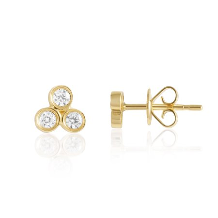 14KT Gold and Diamond Pave Stud Earrings - Choice of Heart, Round, Oval, Triangle and Moon Shapes Hammered Gold Oval Earrings