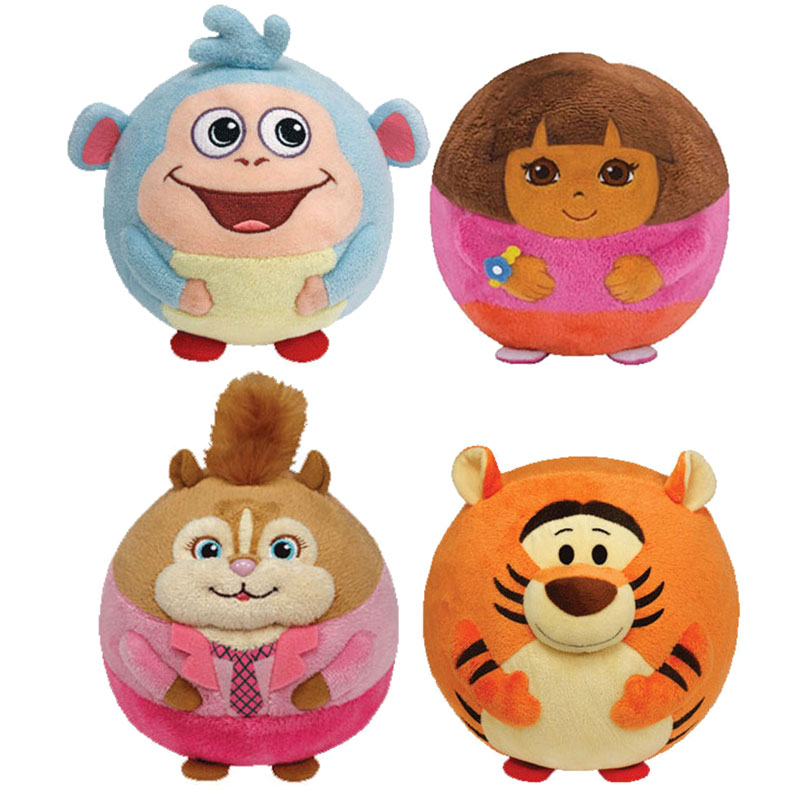 TY Beanie Ballz Set of 4 Regular Size Ballz (Tigger, Brittany, Dora, Boots) by TY