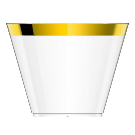 Gold Trimmed Fine China (Perfect Settings Clear Plastic Cups - Enhance Your Celebration With Our Classy Gold Trimmed Disposable Cups - Pack of 110 9oz Fancy Wedding Cups)