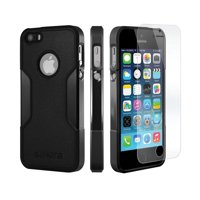 SaharaCase® iPhone 5 / 5s / SE Case Classic Protective Kit Bundle with ZeroDamage® Tempered Glass Screen Protector – Black