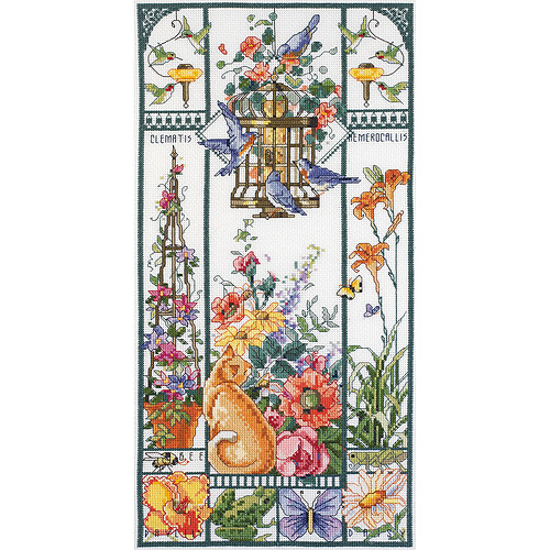 "Summer Cat Sampler Counted Cross Stitch Kit-8""X16"" 14 Count"