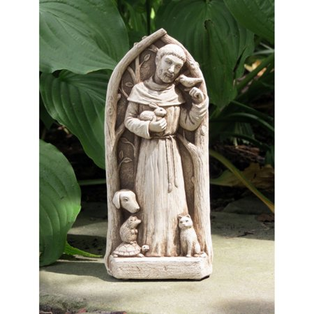 St Francis Garden Statues (Carruth Studio St Francis Blesses the Animals Wall Plaque / Garden Statue )