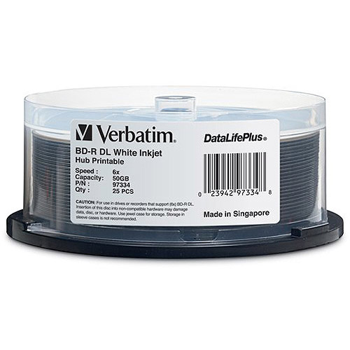 Verbatim 50GB 6x Inkjet Printable BD-R Double Layer, 25pk with Spindle