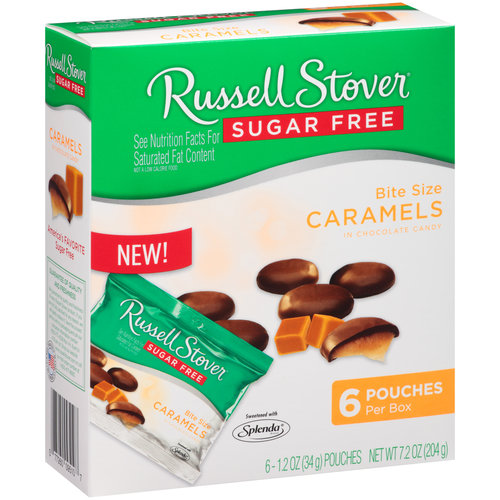 Russell Stover Sugar Free Bite Size Caramels in Chocolate Candy, 1.2 oz, 6 ct