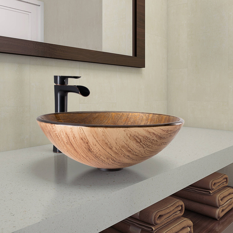 Vigo Amber Sunset Glass And Sink Bathroom Vessel Niko