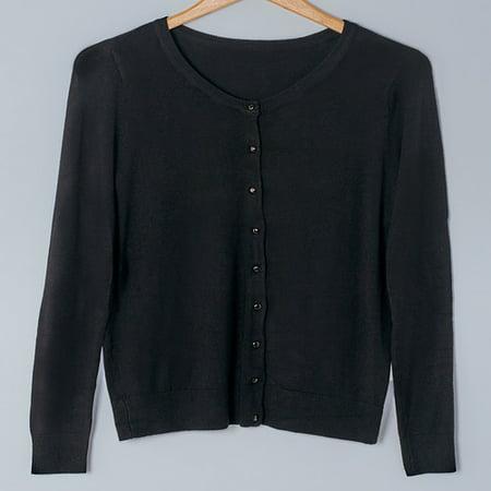 Fine Gauge Knit Cardigan Sweaters-Black Large