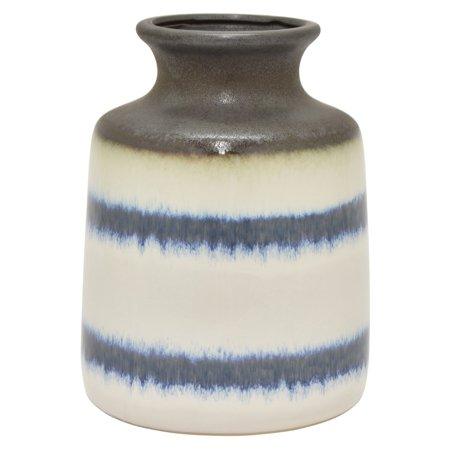 Three Hands Blue Stripe Ceramic Urn Vase