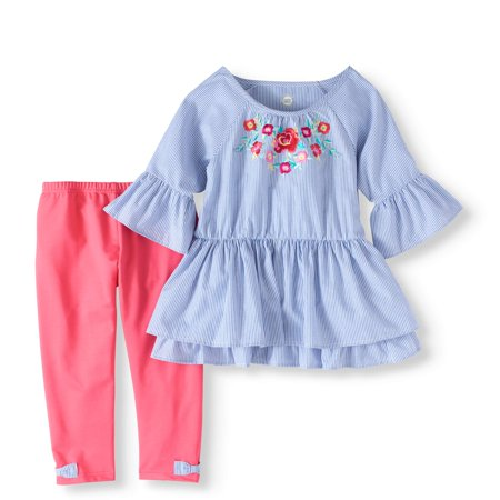 Striped Shirting Tunic and Capri Legging 2-Piece Set (Little Girls & Big Girls) - Girls Valentines Clothes