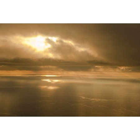Aerial View Of The Sunrise Reflecting Off The Water Pacific Ocean Kodiak Island Southwest Alaska Posterprint