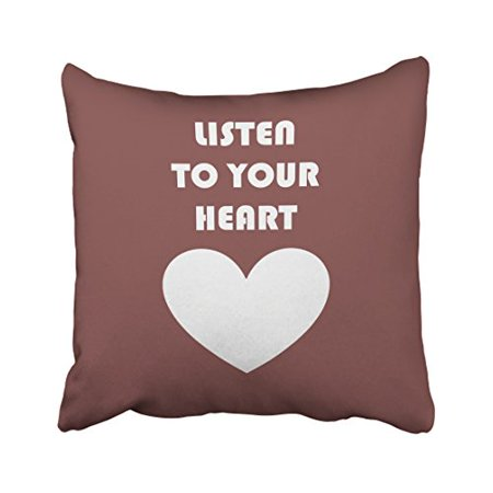 RYLABLUE Listen To Your Heart Reddish Brown Decorative Pillowcases With Hidden Zipper Decor Cushion Covers Two Sides 18x18 inches - image 1 of 1