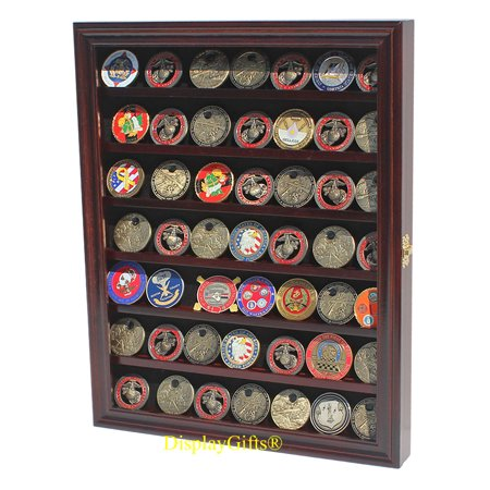 Military Challenge Coin Casino Poker Chip Display Case Shadow Box Wood Cabinet-Mahogany Finish