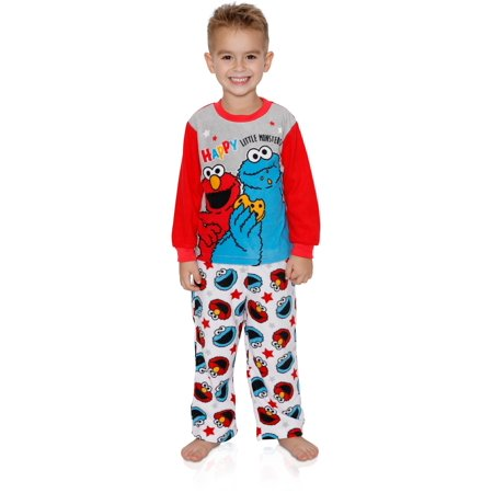 Sesame Street Elmo Cookie Monster Baby Toddler Boys 2-Piece Fleece Pajamas Set, Grey/Multi, Size: 3T](Elmo Christmas Pajamas)