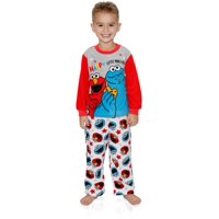 Sesame Street Elmo Cookie Monster Baby Toddler Boys 2-Piece Fleece Pajamas Set, Grey/Multi, Size: 3T