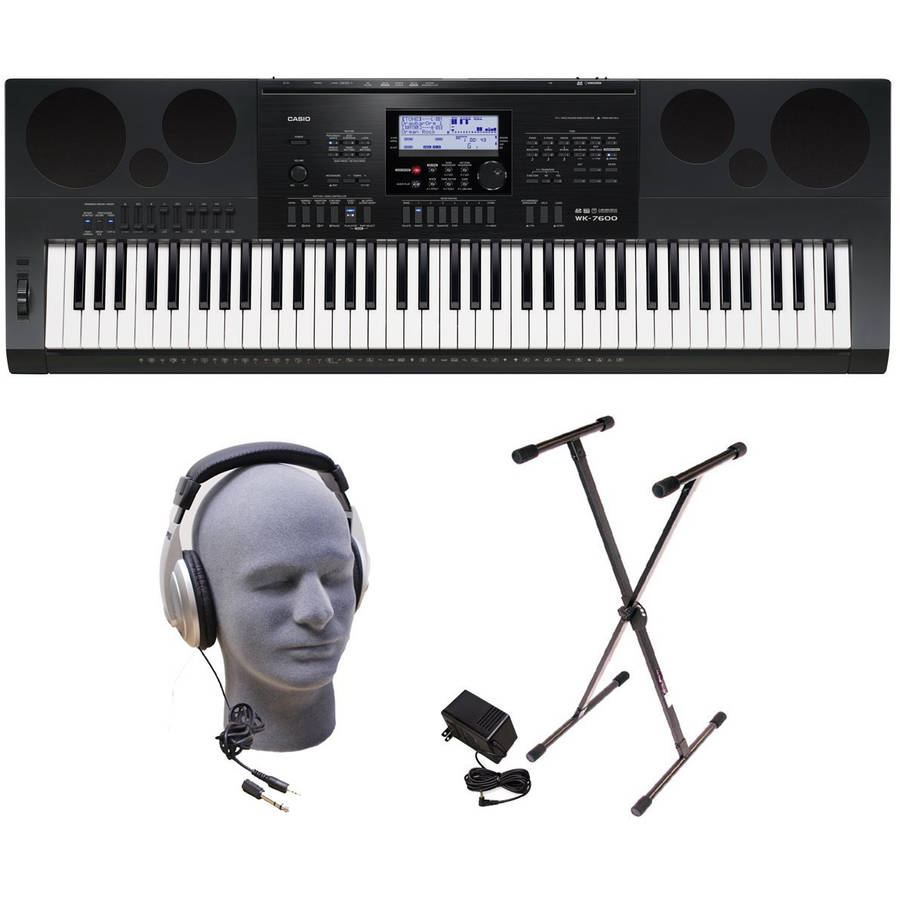 Casio WK7600 76-Key Premium Portable Keyboard Package with Headphones, Stand and Power Supply