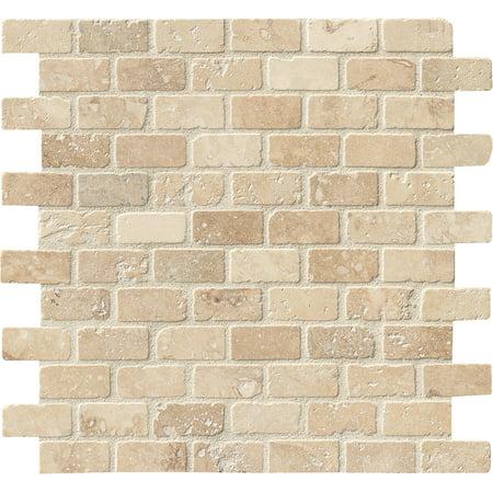 Chiaro Brick 12 in. x 12 in. x 10mm Tumbled Travertine Mesh-Mounted Mosaic Tile (10 sq. ft. / case) Tumbled Travertine Tile